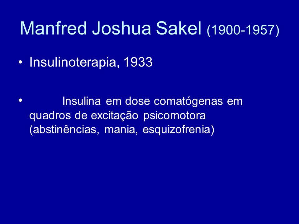 Manfred Joshua Sakel (1900-1957) Insulinoterapia, 1933 Insulina em dose comatógenas em quadros de excitação psicomotora (abstinências, mania, esquizof