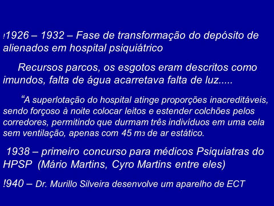 ! 1926 – 1932 – Fase de transformação do depósito de alienados em hospital psiquiátrico Recursos parcos, os esgotos eram descritos como imundos, falta