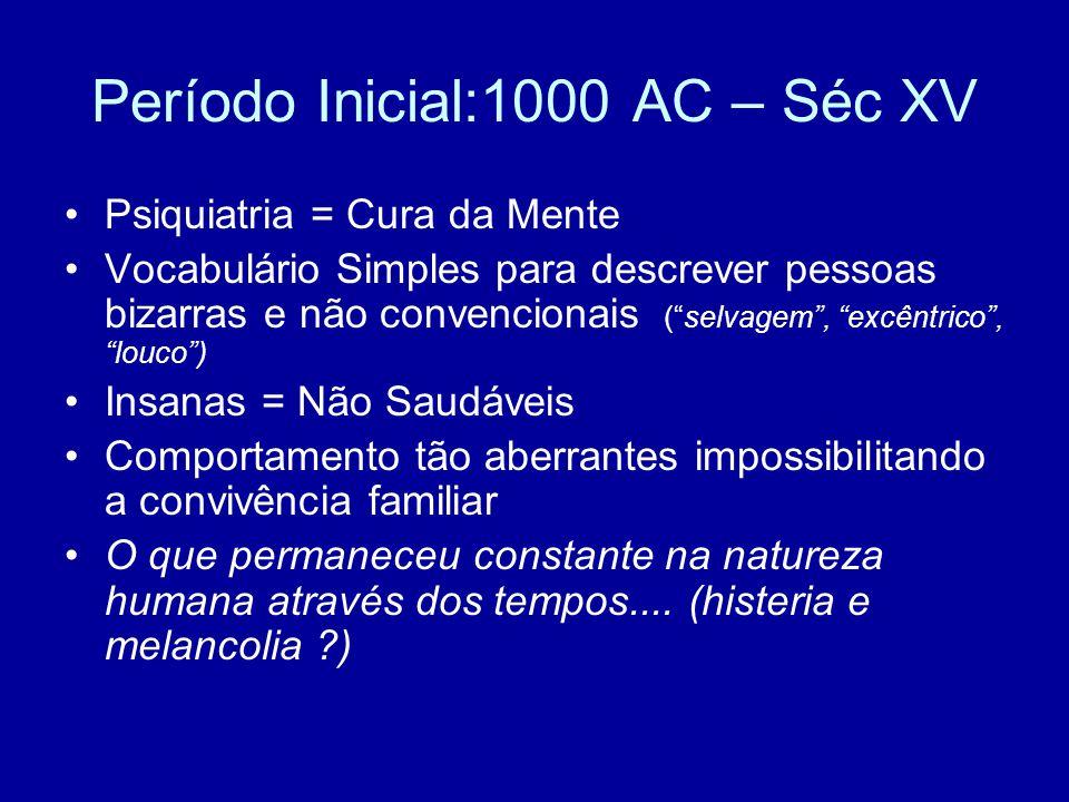 """Período Inicial:1000 AC – Séc XV Psiquiatria = Cura da Mente Vocabulário Simples para descrever pessoas bizarras e não convencionais (""""selvagem"""", """"exc"""