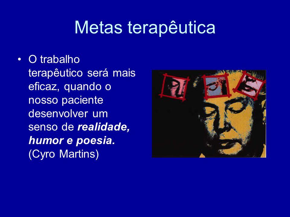 Metas terapêutica O trabalho terapêutico será mais eficaz, quando o nosso paciente desenvolver um senso de realidade, humor e poesia. (Cyro Martins)