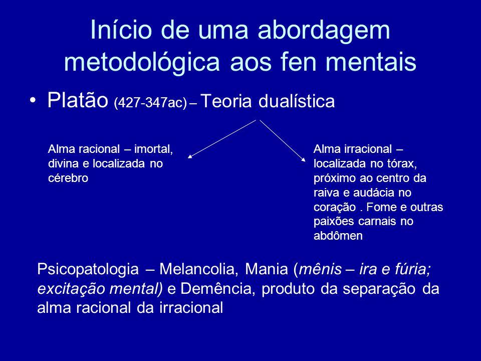 Início de uma abordagem metodológica aos fen mentais Platão (427-347ac) – Teoria dualística Alma racional – imortal, divina e localizada no cérebro Al