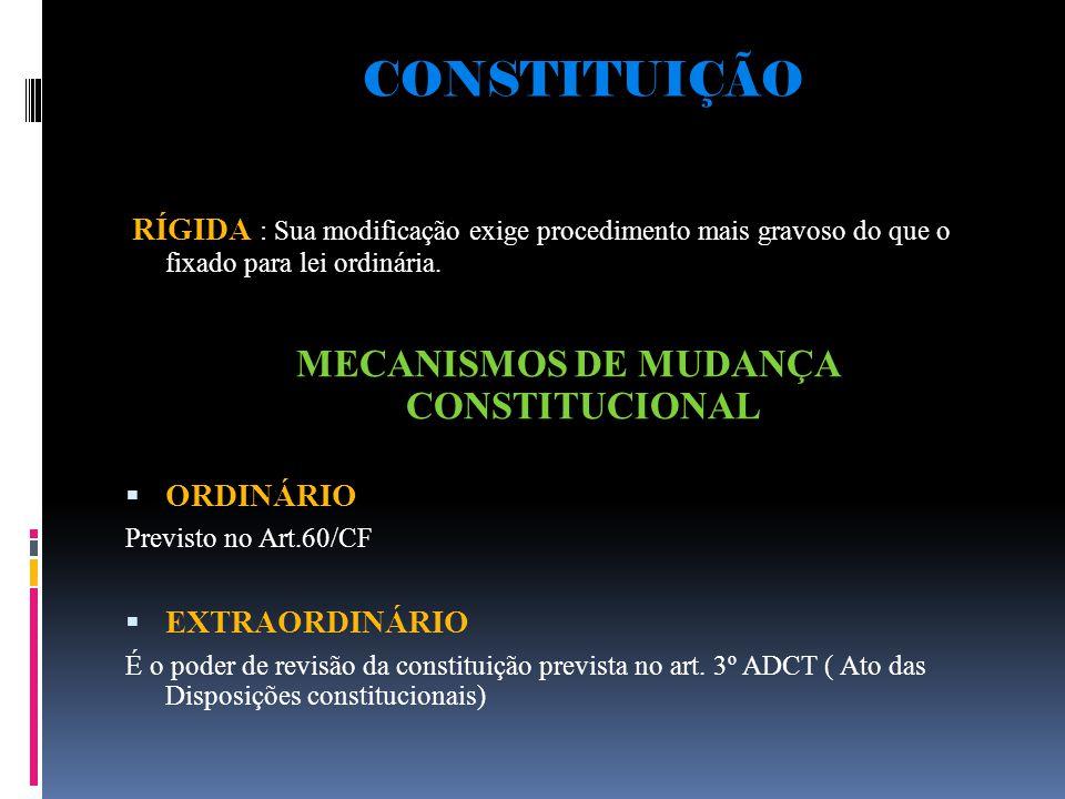 CONSTITUIÇÃO RÍGIDA : Sua modificação exige procedimento mais gravoso do que o fixado para lei ordinária.