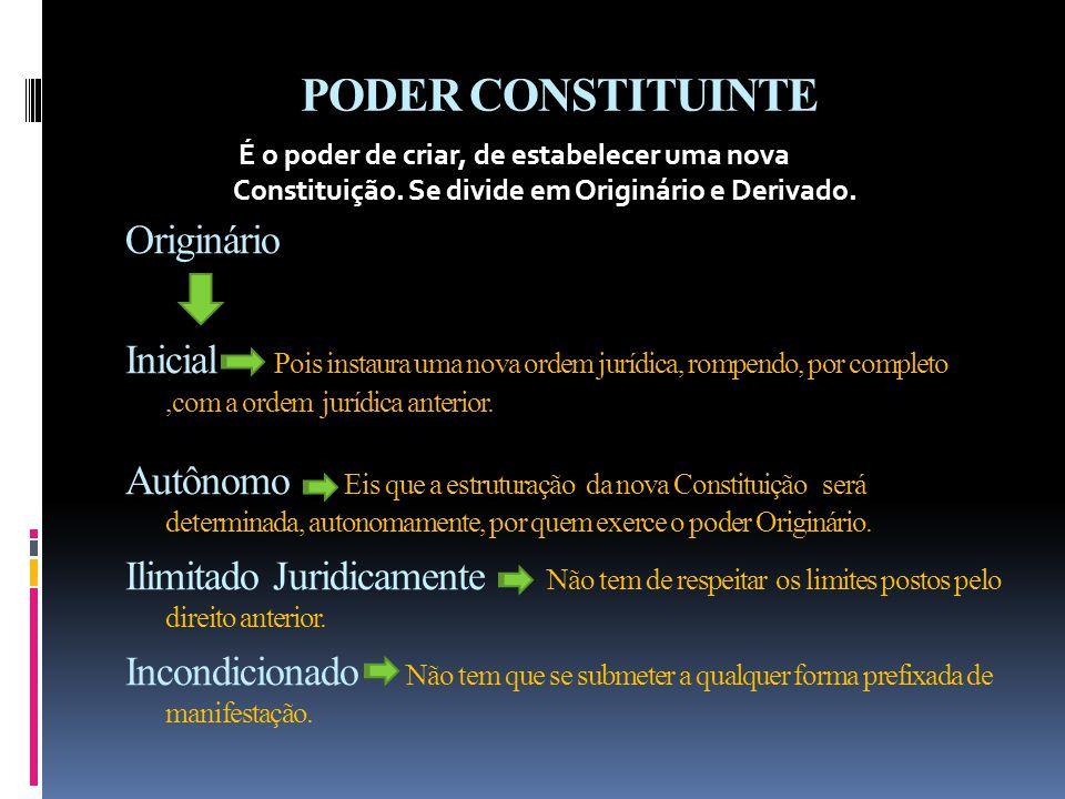 PODER CONSTITUINTE Originário Inicial Pois instaura uma nova ordem jurídica, rompendo, por completo,com a ordem jurídica anterior.