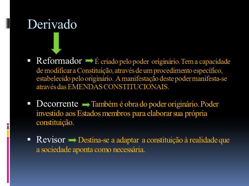 Derivado  Reformador É criado pelo poder originário.