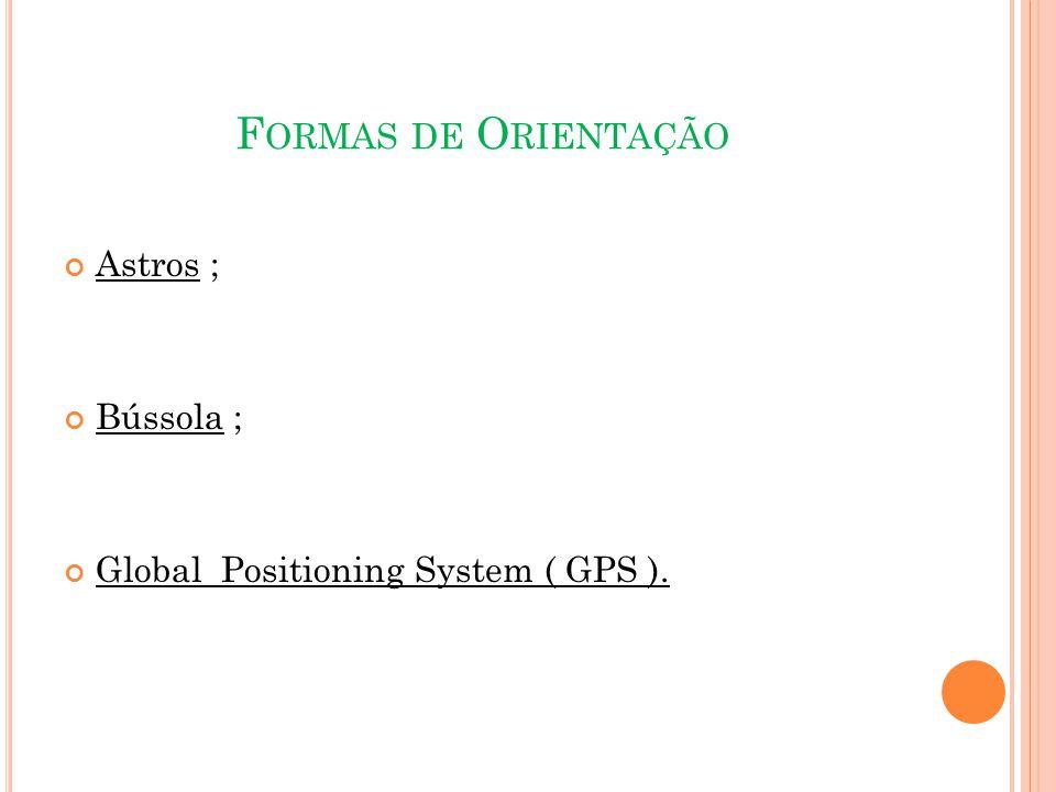 F ORMAS DE O RIENTAÇÃO Astros ; Bússola ; Global Positioning System ( GPS ).