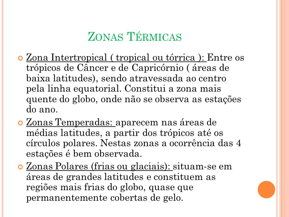 Z ONAS T ÉRMICAS Zona Intertropical ( tropical ou tórrica ): Entre os trópicos de Câncer e de Capricórnio ( áreas de baixa latitudes), sendo atravessada ao centro pela linha equatorial.
