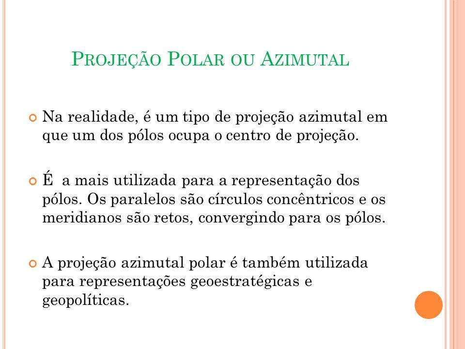 P ROJEÇÃO P OLAR OU A ZIMUTAL Na realidade, é um tipo de projeção azimutal em que um dos pólos ocupa o centro de projeção.
