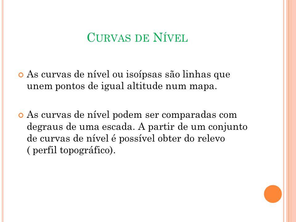 C URVAS DE N ÍVEL As curvas de nível ou isoípsas são linhas que unem pontos de igual altitude num mapa.