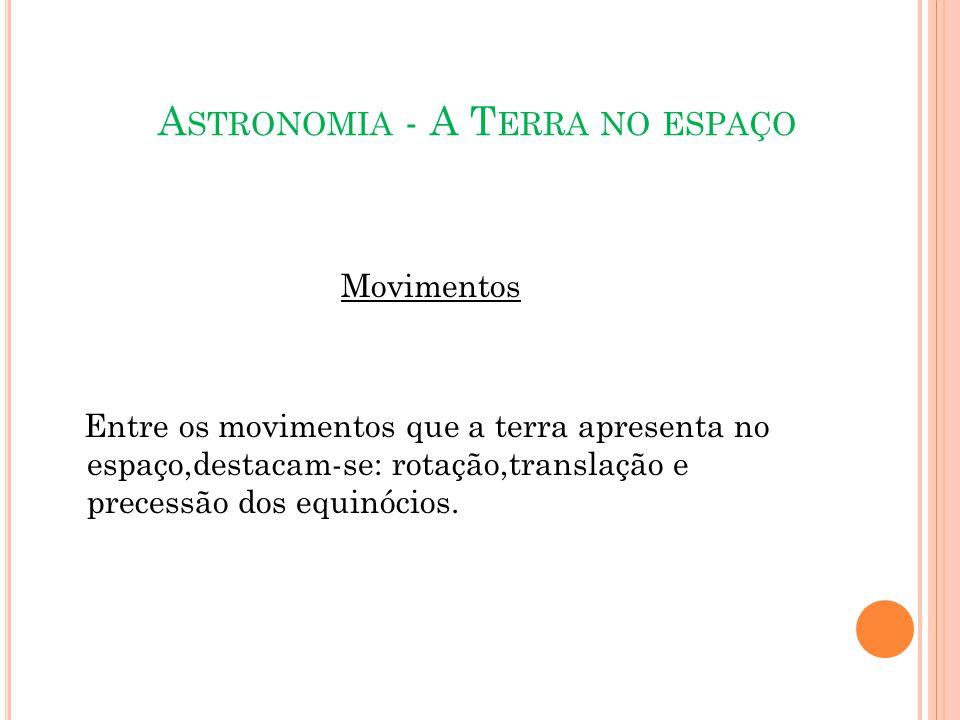 A STRONOMIA - A T ERRA NO ESPAÇO Movimentos Entre os movimentos que a terra apresenta no espaço,destacam-se: rotação,translação e precessão dos equinócios.