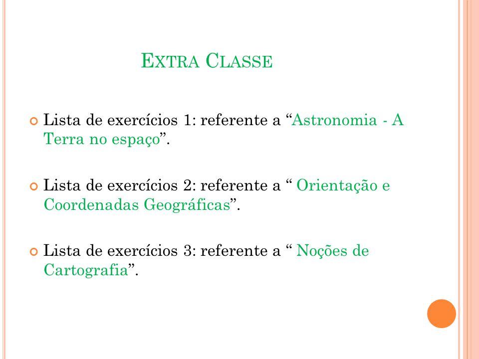 E XTRA C LASSE Lista de exercícios 1: referente a Astronomia - A Terra no espaço .