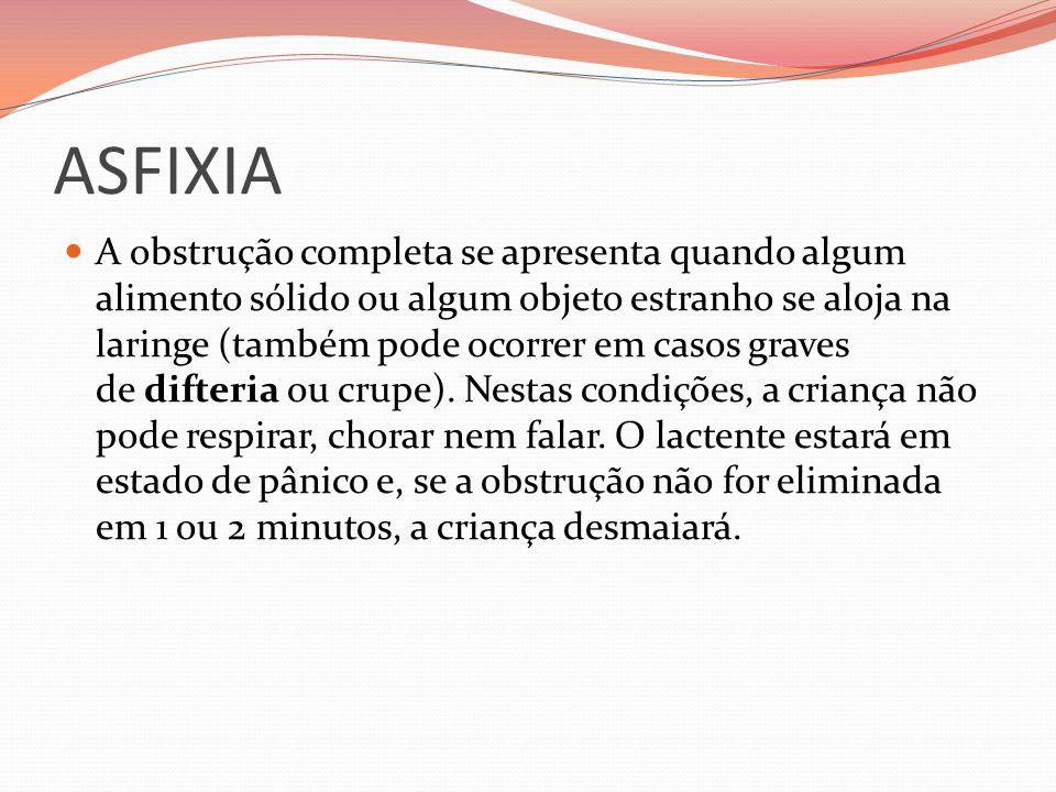 ASFIXIA A obstrução completa se apresenta quando algum alimento sólido ou algum objeto estranho se aloja na laringe (também pode ocorrer em casos grav
