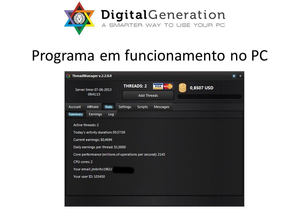 Programa em funcionamento no PC