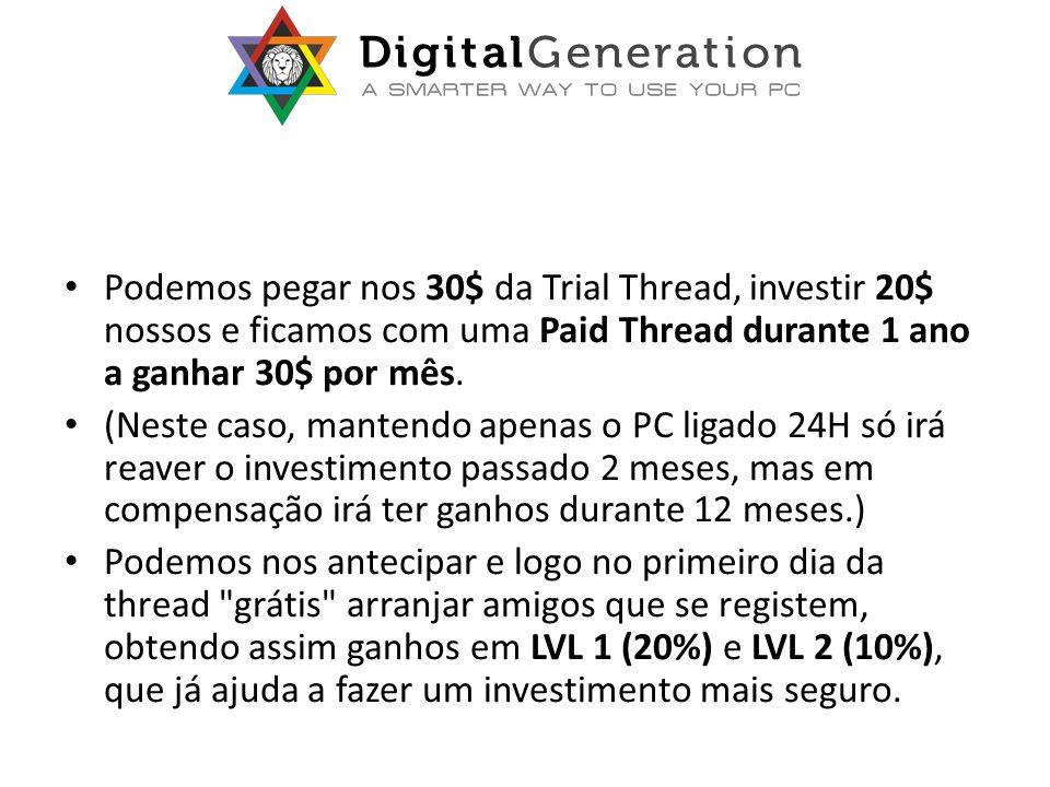 Podemos pegar nos 30$ da Trial Thread, investir 20$ nossos e ficamos com uma Paid Thread durante 1 ano a ganhar 30$ por mês.