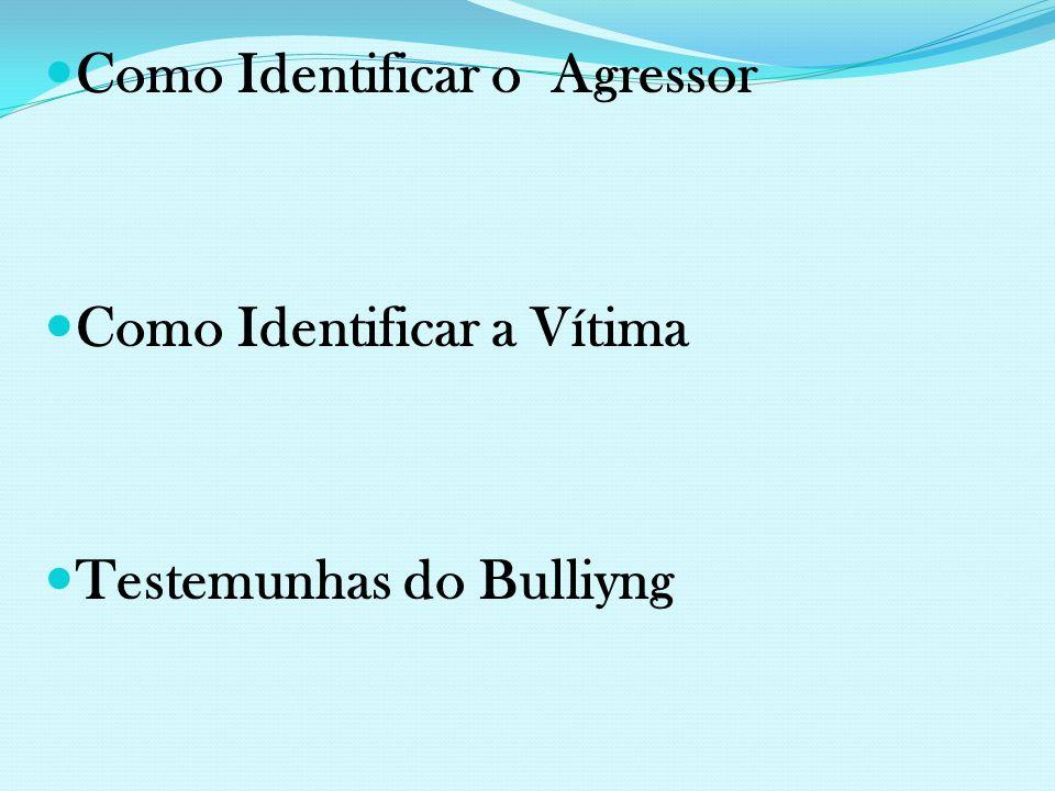 Como Identificar o Agressor Como Identificar a Vítima Testemunhas do Bulliyng