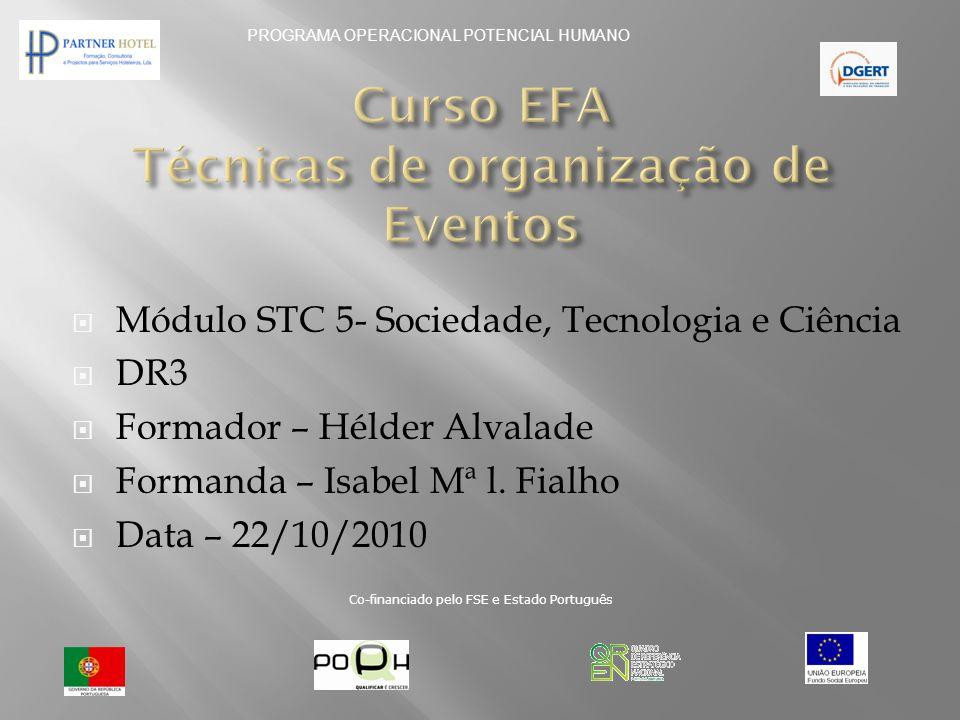MMódulo STC 5- Sociedade, Tecnologia e Ciência DDR3 FFormador – Hélder Alvalade FFormanda – Isabel Mª l. Fialho DData – 22/10/2010 PROGRAMA
