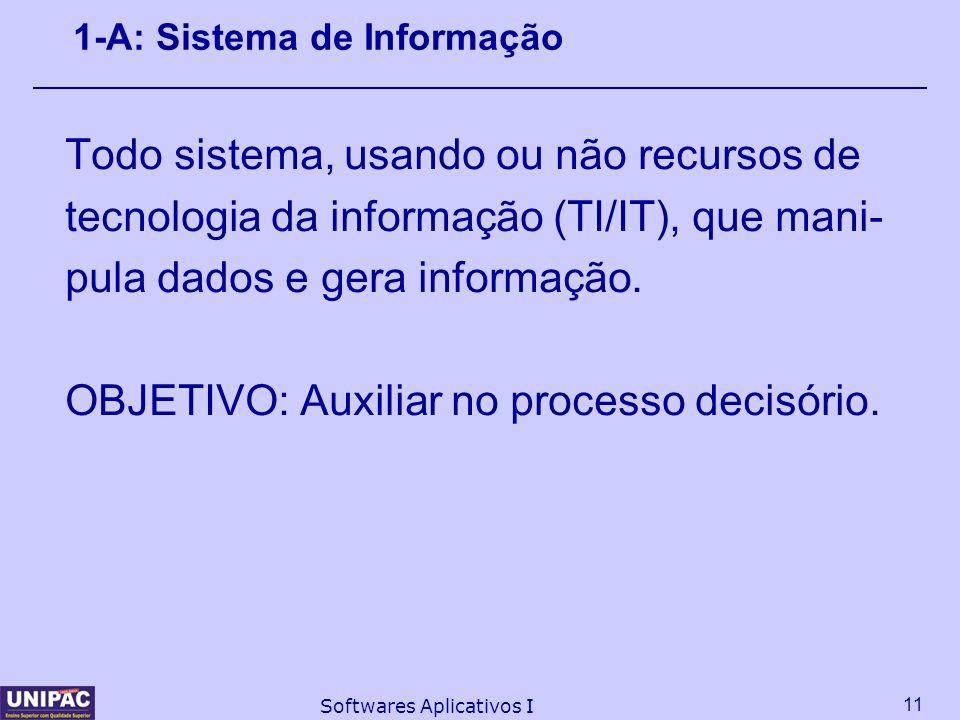 11 Softwares Aplicativos I 1-A: Sistema de Informação Todo sistema, usando ou não recursos de tecnologia da informação (TI/IT), que mani- pula dados e