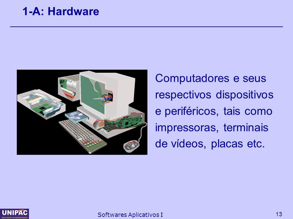 13 Softwares Aplicativos I 1-A: Hardware Computadores e seus respectivos dispositivos e periféricos, tais como impressoras, terminais de vídeos, placa