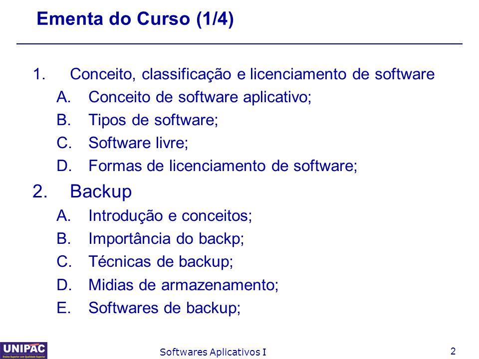 3 Softwares Aplicativos I Ementa do Curso (2/4) 3.Suporte a usuários A.O que é suporte ao usuário; B.Qual a sua importância; C.Softwares utilizados para prestar suporte ao usuário;