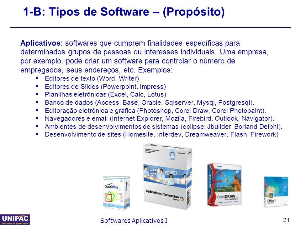 21 Softwares Aplicativos I 1-B: Tipos de Software – (Propósito) Aplicativos: softwares que cumprem finalidades específicas para determinados grupos de