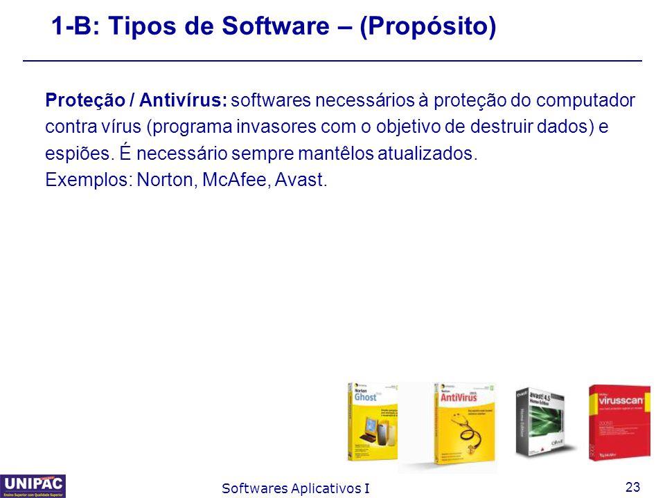 23 Softwares Aplicativos I 1-B: Tipos de Software – (Propósito) Proteção / Antivírus: softwares necessários à proteção do computador contra vírus (pro