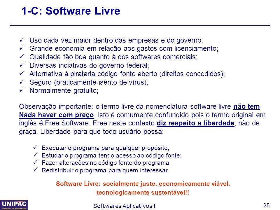 25 Softwares Aplicativos I 1-C: Software Livre Uso cada vez maior dentro das empresas e do governo; Grande economia em relação aos gastos com licencia