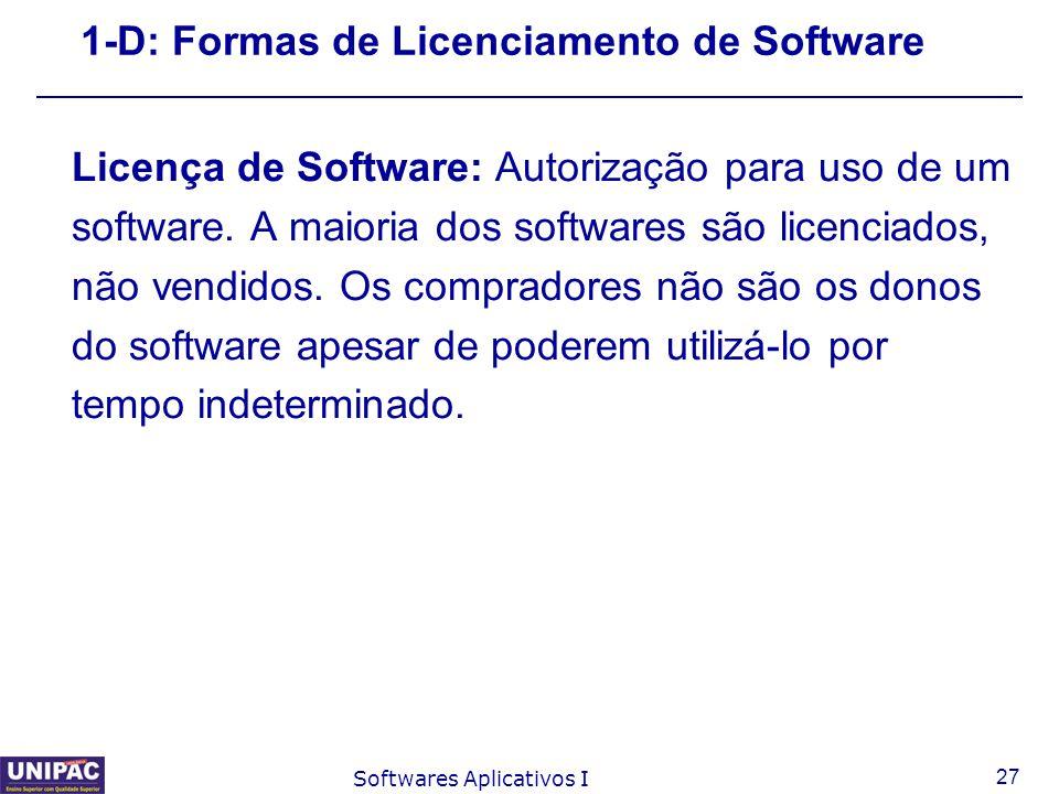 27 Softwares Aplicativos I 1-D: Formas de Licenciamento de Software Licença de Software: Autorização para uso de um software. A maioria dos softwares
