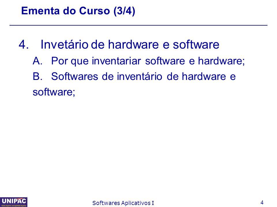 5 Softwares Aplicativos I Ementa do Curso (4/4) 5.Controles de conta de impressão A.Objetivos do controle de cota de impressão; B.Softwares de controle de cotas;