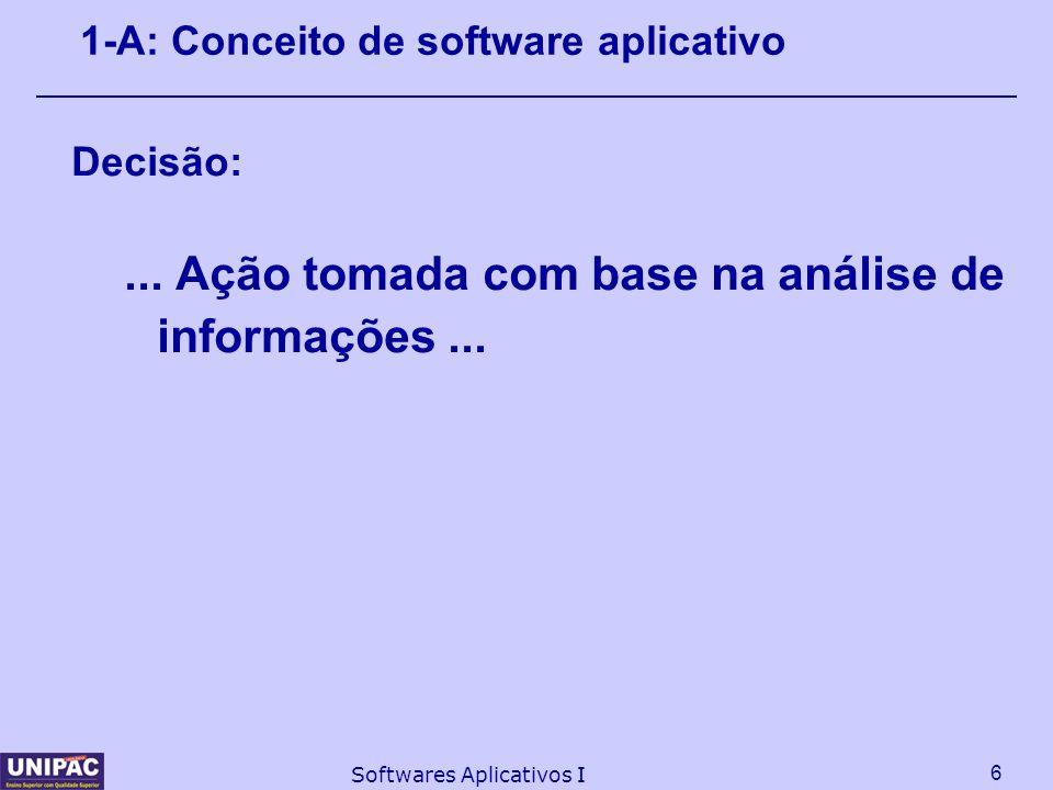 6 Softwares Aplicativos I 1-A: Conceito de software aplicativo Decisão:... Ação tomada com base na análise de informações...