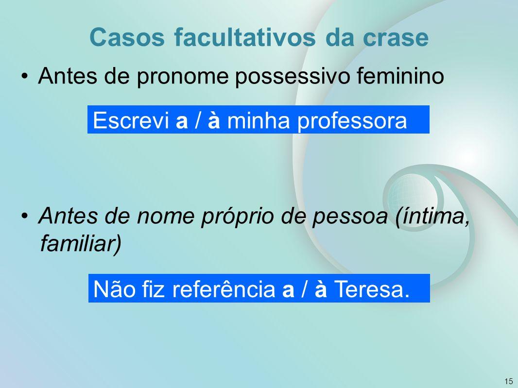 Casos facultativos da crase Antes de pronome possessivo feminino Antes de nome próprio de pessoa (íntima, familiar) 15 Escrevi a / à minha professora