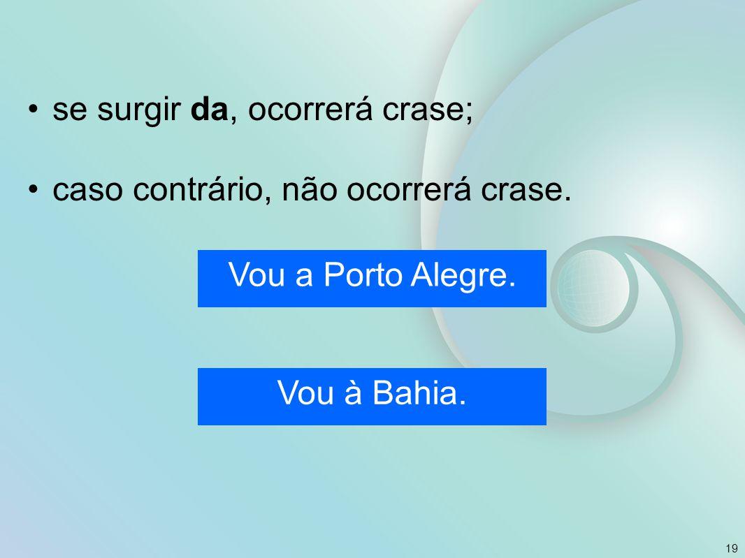 se surgir da, ocorrerá crase; caso contrário, não ocorrerá crase. 19 Vou a Porto Alegre. Vou à Bahia.
