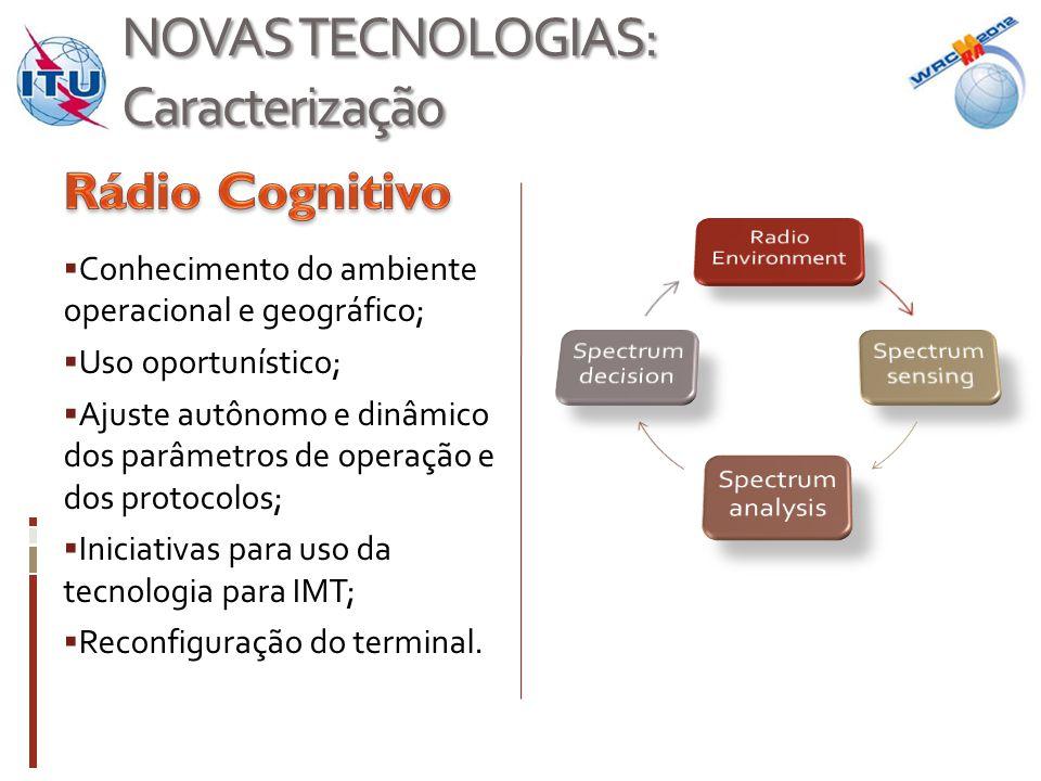 NOVAS TECNOLOGIAS: Caracterização  Conhecimento do ambiente operacional e geográfico;  Uso oportunístico;  Ajuste autônomo e dinâmico dos parâmetros de operação e dos protocolos;  Iniciativas para uso da tecnologia para IMT;  Reconfiguração do terminal.