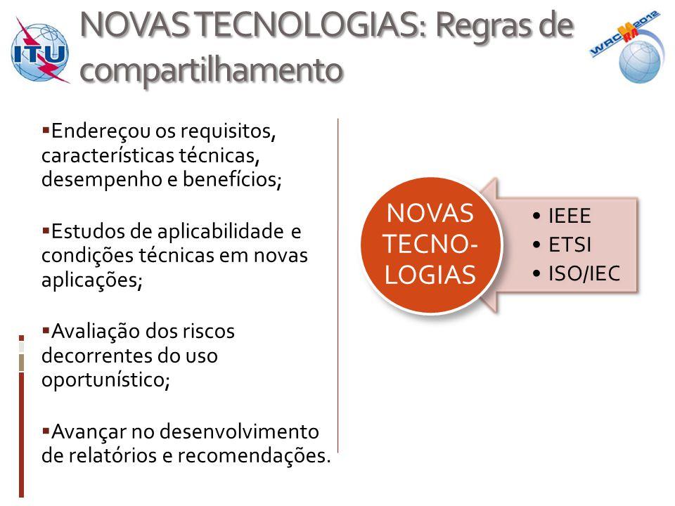 NOVAS TECNOLOGIAS: Regras de compartilhamento  Endereçou os requisitos, características técnicas, desempenho e benefícios;  Estudos de aplicabilidade e condições técnicas em novas aplicações;  Avaliação dos riscos decorrentes do uso oportunístico;  Avançar no desenvolvimento de relatórios e recomendações.