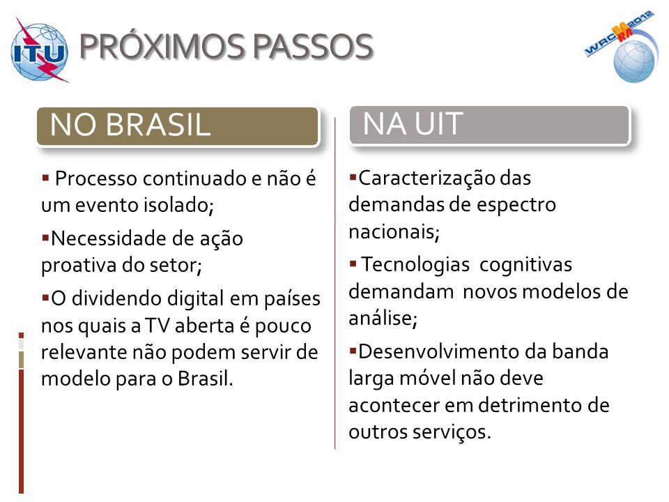 PRÓXIMOS PASSOS  Processo continuado e não é um evento isolado;  Necessidade de ação proativa do setor;  O dividendo digital em países nos quais a TV aberta é pouco relevante não podem servir de modelo para o Brasil.