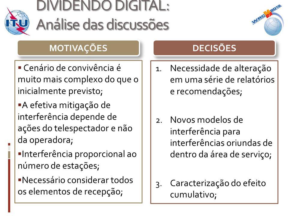 DIVIDENDO DIGITAL: Na próxima conferência  Replanejamento do espectro;  Processo formal para a identificação de novas faixas para banda larga móvel;  Validação de critérios de compartilhamento para o 2º dividendo digital na Europa.