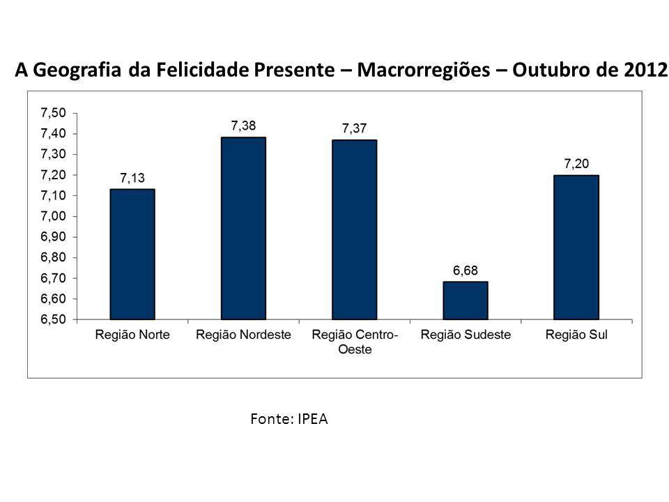 Fonte: IPEA Modelo Multinomial Ordenado de Felicidade Presente (Informações do Responsável) Felicidade Controlada – Outubro de 2012 Geografia da Felicidade Brasileira