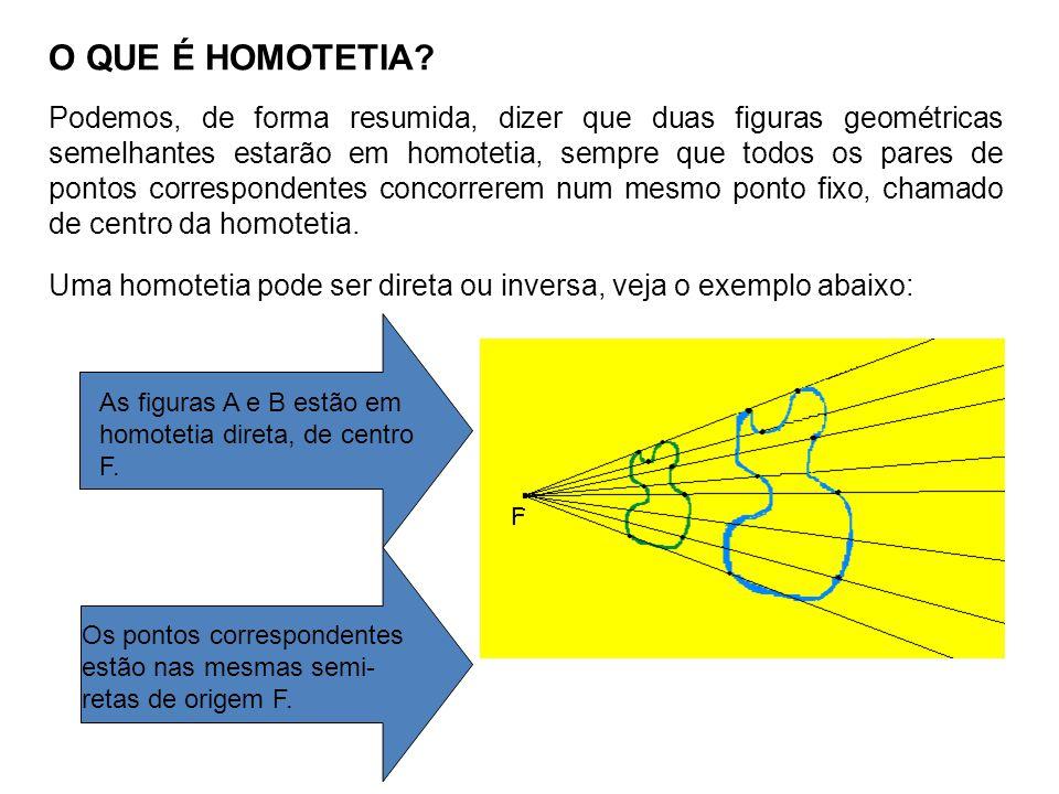 O QUE É HOMOTETIA? Podemos, de forma resumida, dizer que duas figuras geométricas semelhantes estarão em homotetia, sempre que todos os pares de ponto