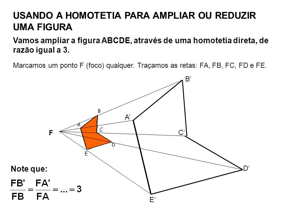 USANDO A HOMOTETIA PARA AMPLIAR OU REDUZIR UMA FIGURA Vamos ampliar a figura ABCDE, através de uma homotetia direta, de razão igual a 3. Marcamos um p
