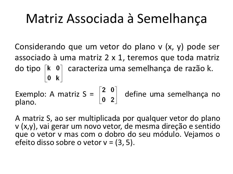Matriz Associada à Semelhança Considerando que um vetor do plano v (x, y) pode ser associado à uma matriz 2 x 1, teremos que toda matriz do tipo caracteriza uma semelhança de razão k.