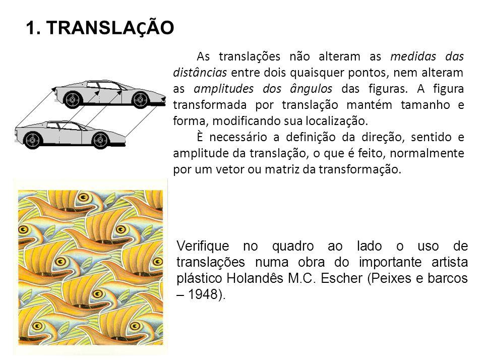 As translações não alteram as medidas das distâncias entre dois quaisquer pontos, nem alteram as amplitudes dos ângulos das figuras. A figura transfor