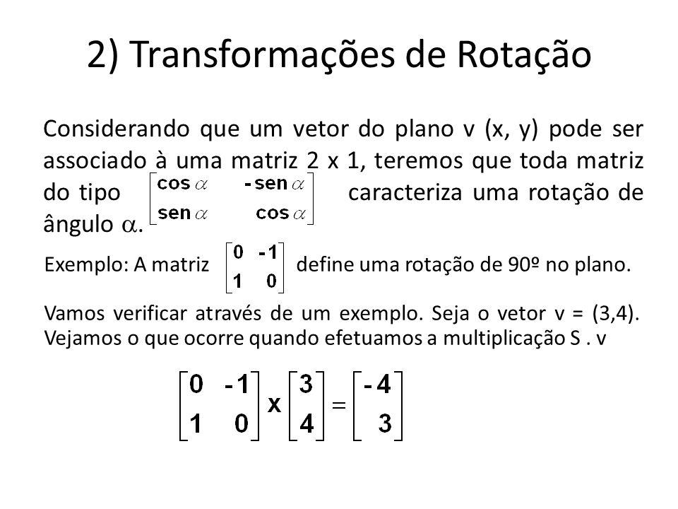 2) Transformações de Rotação Considerando que um vetor do plano v (x, y) pode ser associado à uma matriz 2 x 1, teremos que toda matriz do tipo caracteriza uma rotação de ângulo .
