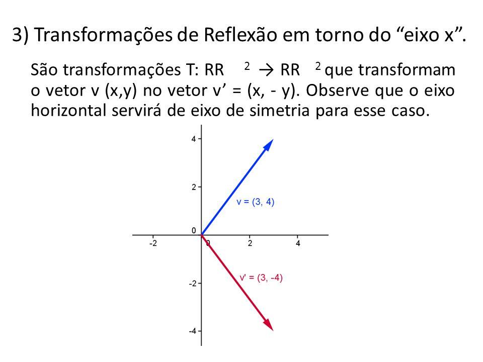 """3) Transformações de Reflexão em torno do """"eixo x"""". São transformações T: RR 2 → RR 2 que transformam o vetor v (x,y) no vetor v' = (x, - y). Observe"""