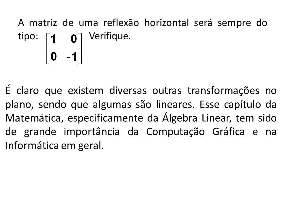 A matriz de uma reflexão horizontal será sempre do tipo: Verifique. É claro que existem diversas outras transformações no plano, sendo que algumas são