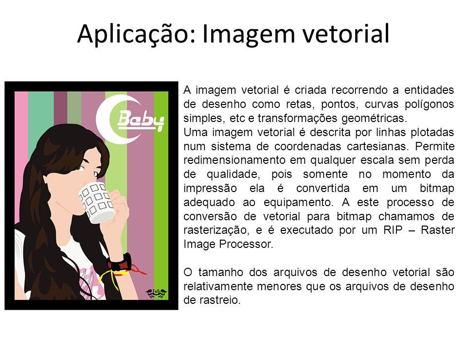 Aplicação: Imagem vetorial A imagem vetorial é criada recorrendo a entidades de desenho como retas, pontos, curvas polígonos simples, etc e transforma