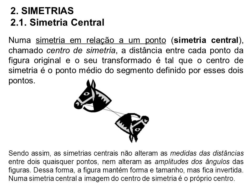 2. SIMETRIAS 2.1. Simetria Central Numa simetria em relação a um ponto (simetria central), chamado centro de simetria, a distância entre cada ponto da