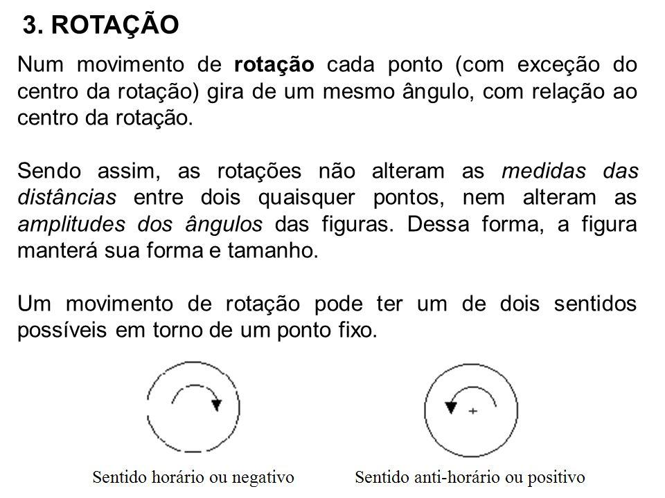 3. ROTAÇÃO Num movimento de rotação cada ponto (com exceção do centro da rotação) gira de um mesmo ângulo, com relação ao centro da rotação. Sendo ass