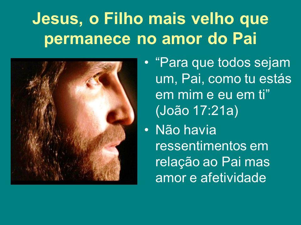 """Jesus, o Filho mais velho que permanece no amor do Pai """"Para que todos sejam um, Pai, como tu estás em mim e eu em ti"""" (João 17:21a) Não havia ressent"""