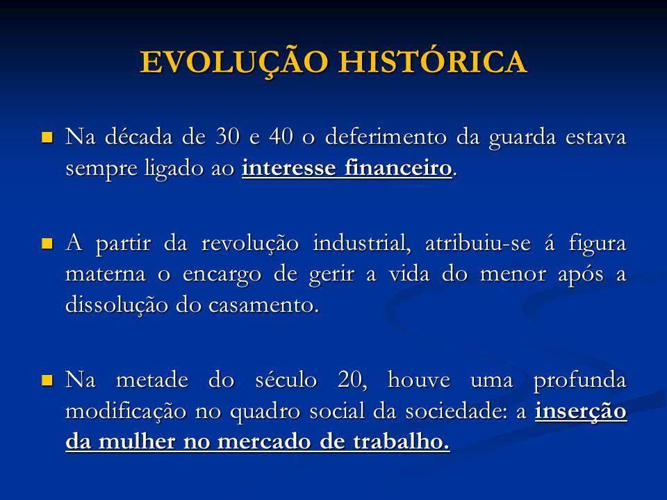 EVOLUÇÃO HISTÓRICA Na década de 30 e 40 o deferimento da guarda estava sempre ligado ao interesse financeiro. Na década de 30 e 40 o deferimento da gu