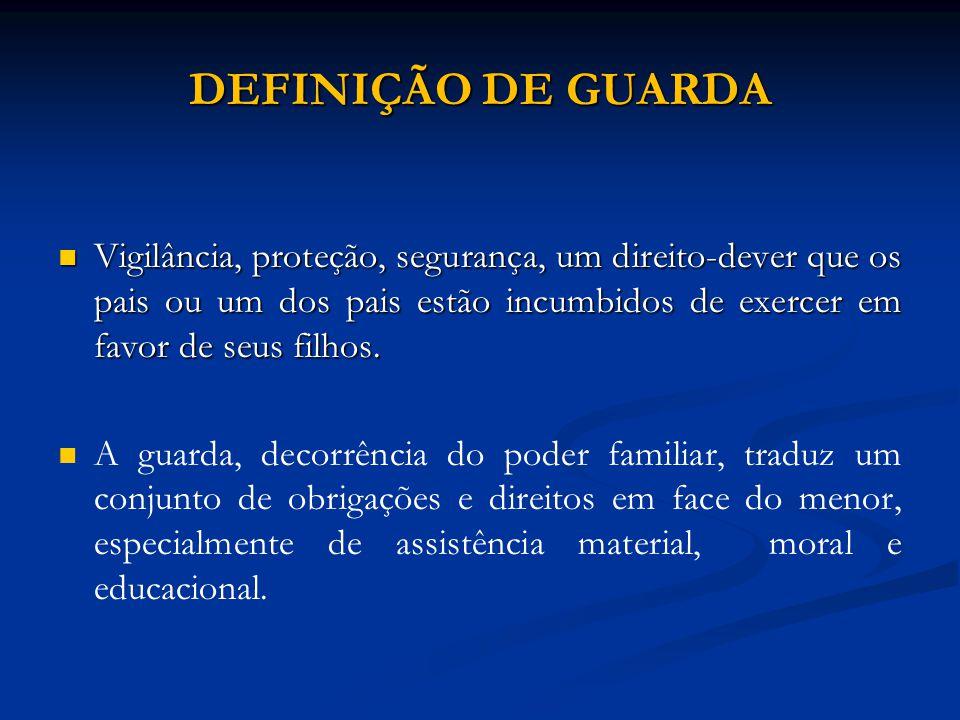 Guarda jurídica X Guarda física Guarda jurídica X Guarda física A guarda jurídica refere-se as relações de caráter pessoal que surgem do poder familiar, como o sustento, educação, respeito e honra.