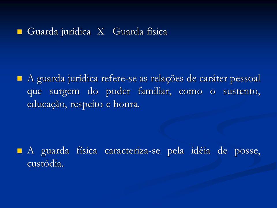 Guarda jurídica X Guarda física Guarda jurídica X Guarda física A guarda jurídica refere-se as relações de caráter pessoal que surgem do poder familia
