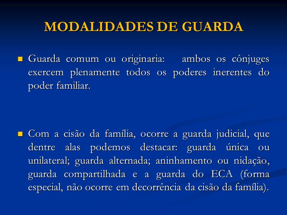 MODALIDADES DE GUARDA Guarda comum ou originaria: ambos os cônjuges exercem plenamente todos os poderes inerentes do poder familiar. Guarda comum ou o